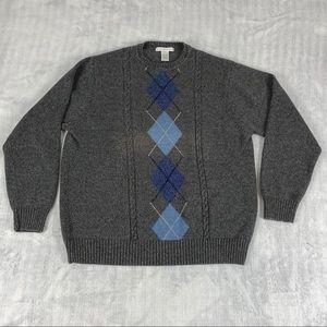 Geoffrey Beene Argyle Sweater Sz XL Pull Over Gray Cotton Knit